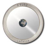 Latvia: Planet Earth Is Featured on New, Technically Innovative Translucent Ceramic and Silver Coin