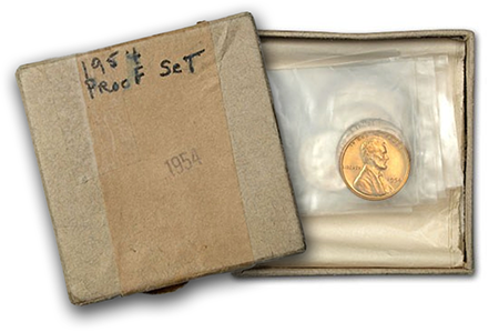 1954 Proof Set in its original box, with owner's writing on the lid.