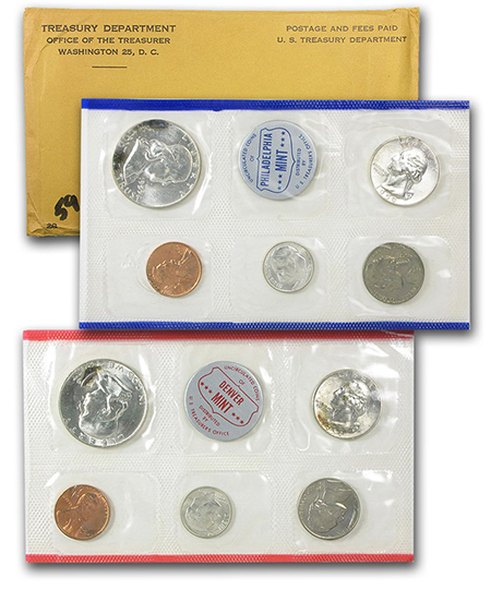 1959 Mint Set: P- and D-Mint coins, original packaging.