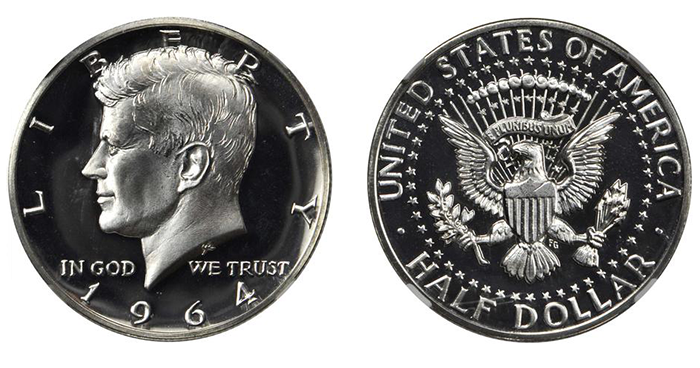 A 1964 Proof Kennedy half dollar, graded PF-66 Ultra Cameo. (Photo courtesy of Stack's Bowers Galleries)