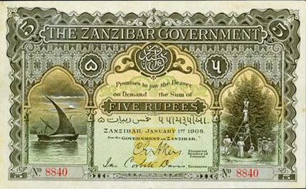 Lot 1405 (Zanzibar): Finest certified uncanceled issued 5 Rupees, 1908. PCGS Very Fine 35. (Back is blank.)