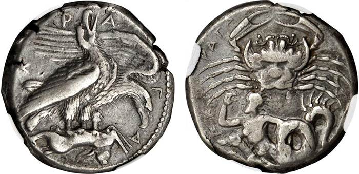 Lot 2008 (Sicily): Tetradrachm of Akragas (17.20 gms), ca. 420-410 B.C. NGC Ch VF, Strike: 5/5 Surface: 4/5. Fine Style.