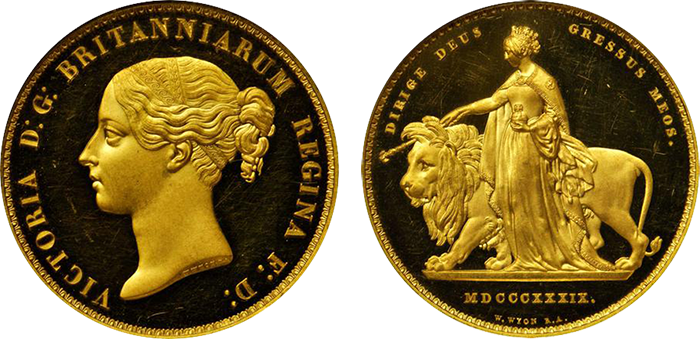 "Lot 2477 (U.K.): Iconic ""Una and the Lion"" gold 5 Pounds; part of 15-piece Proof set, 1839. NGC PF-63 to PF-66."