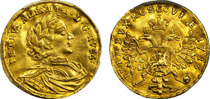 Lot 3311 (Russia): Peter the Great Ducat, 1716, with Latin inscription. AU-55.