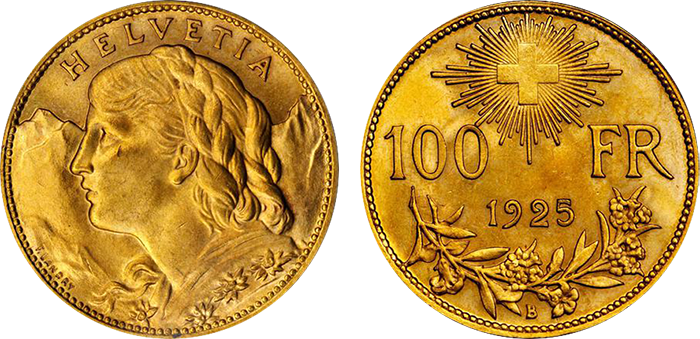 Lot 3409 (Switzerland): Low-mintage 100 Francs, 1925-B. MS-65.
