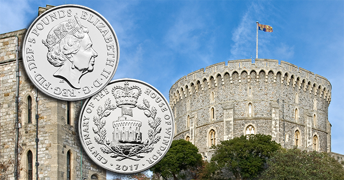 (Coin photos courtesy of the Royal Mint. Background photo of the Round Tower of Windsor Castle by David Iliff. License: CC-BY-SA 3.0.)