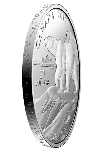 "In the ""Nature's Impressions"" series, the subject animals tracks are incused around the edge of the coin."