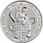 "United Kingdom: New platinum bullion coins unveiled during London Platinum Week, design features ""The Queen's Beasts"""