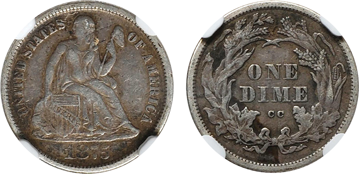 obverse and reverse of 1875-CC, Mintmark Above, dime graded EF-45