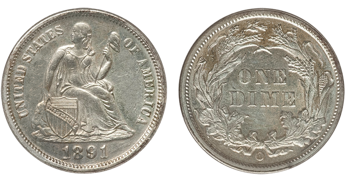 Obverse and reverse of an 1891-O Liberty Seated dime graded AU-53.