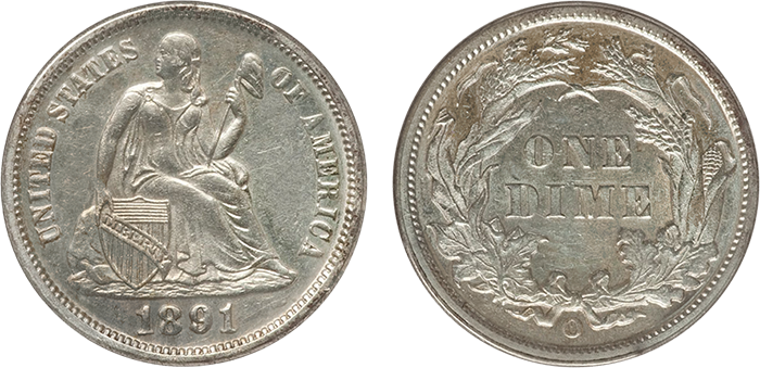 obverse and reverse of 1891-O dime graded AU-53