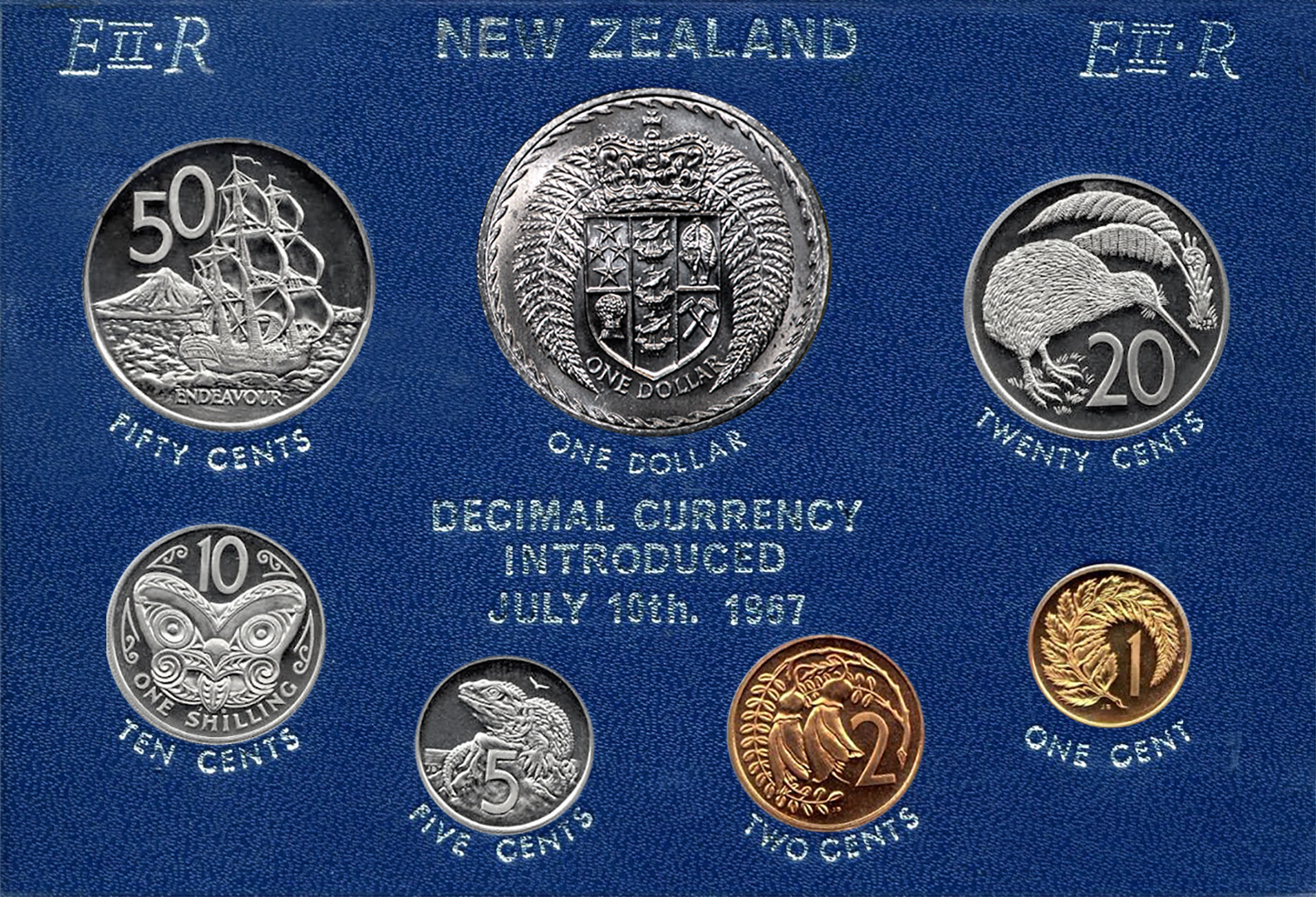A Complete Set Of 1967 New Zealand Decimal Coins
