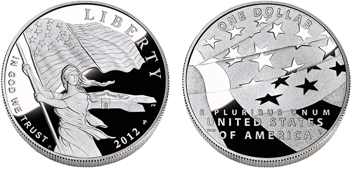 Star Spangled Banner commemorative silver dollar obverse and reverse