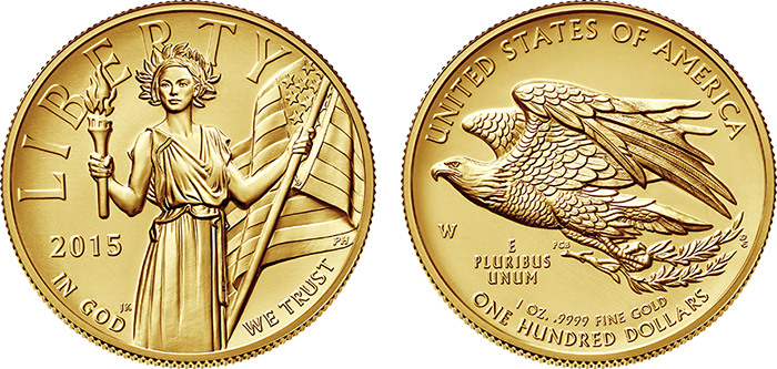 2015 American Liberty high-relief gold coin obverse and reverse