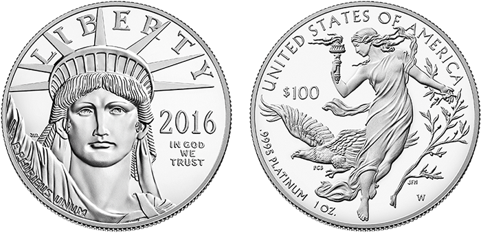 American Eagle 1-ounce platinum coin obverse and reverse