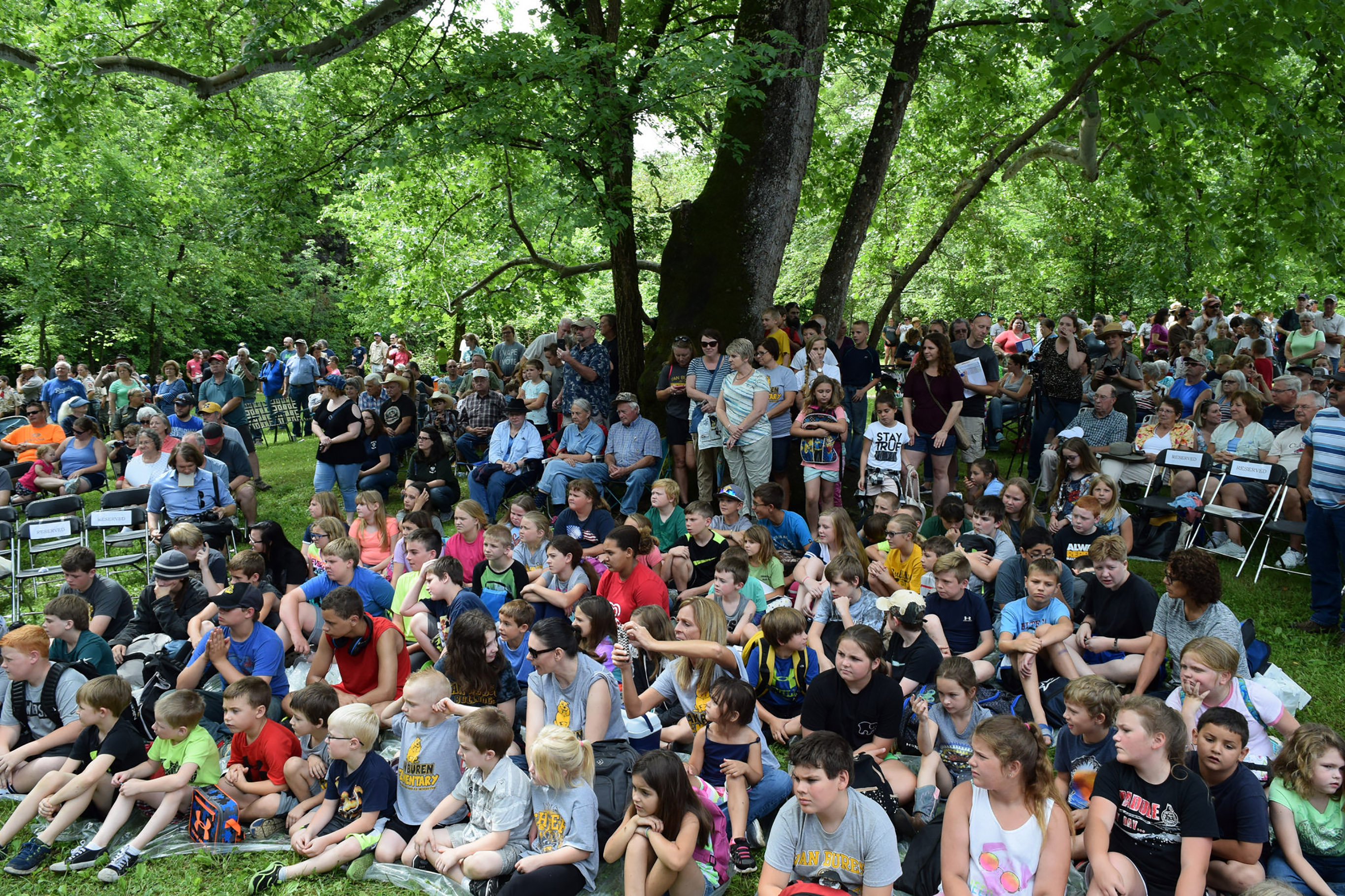 Large crowd of onlookers seated around a tree, on the grass and in chairs. Most on the grass are children.
