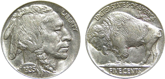 Buffalo Nickel obverse and reverse