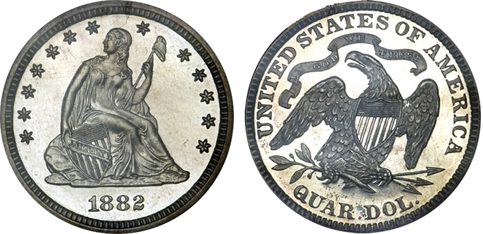 Seated Liberty quarter obverse and reverse