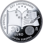Spain: European Union's Maastricht Treaty celebrating 25 years on new silver coin