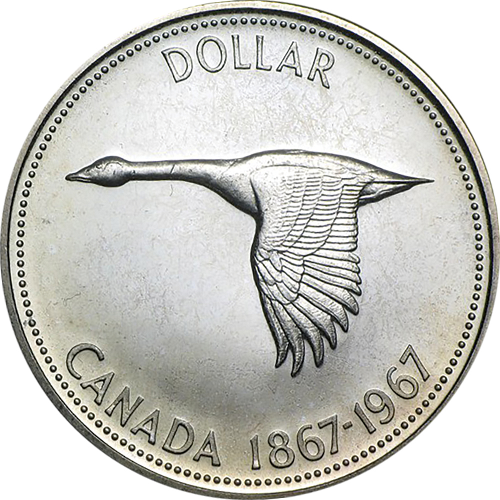 Canada Confederation Centennial 1967 dollar comparison reverse