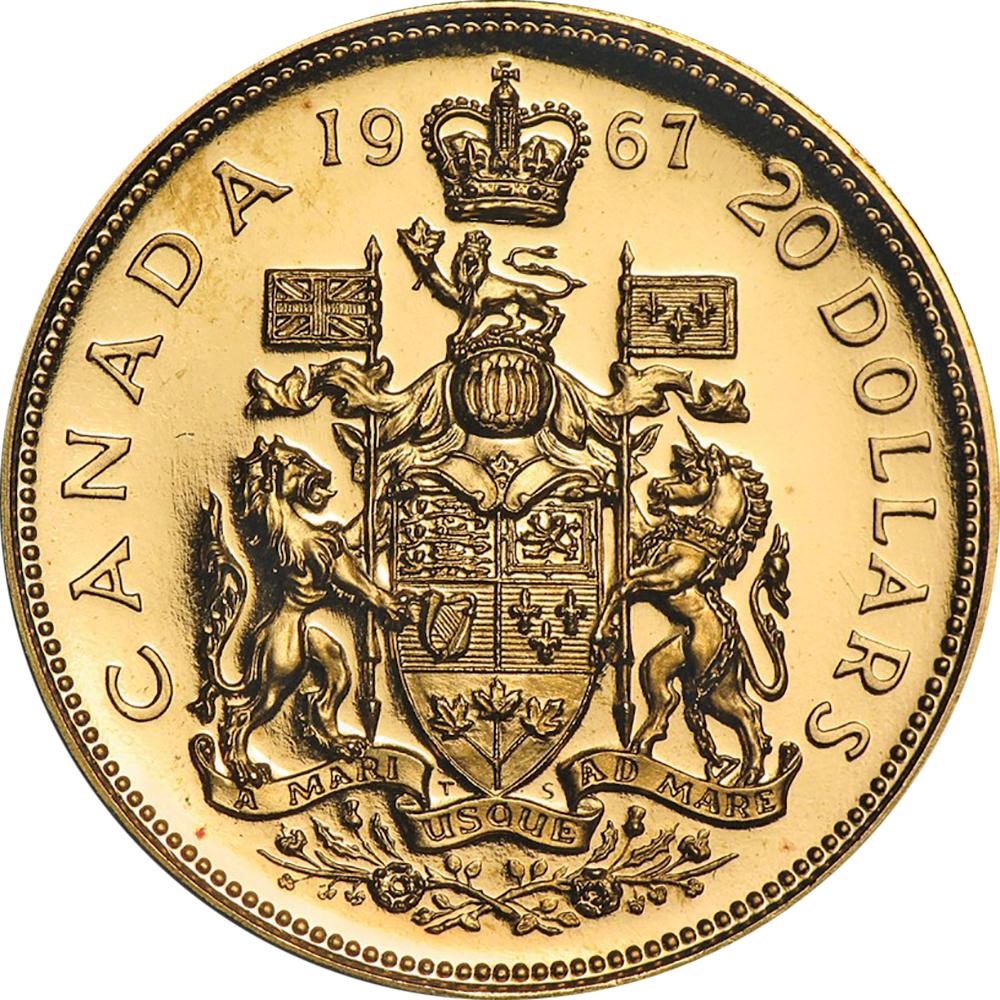 Canada Confederation Centennial 1967 20 dollars comparison reverse