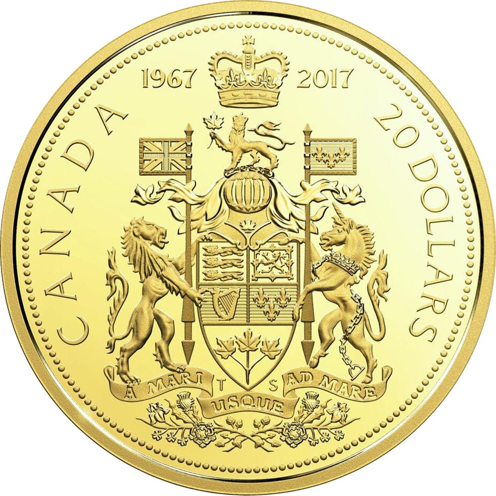 Canada Confederation Centennial 2017 20 dollars comparison reverse