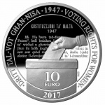 Malta: Voting rights for women celebrated on new silver €10 Proof coin