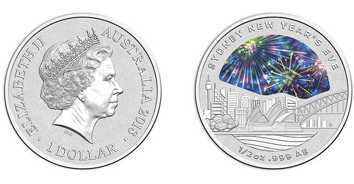 SYDNEY NYE FIREWORKS fabulous 2017 $1 Coloured Fine Silver Frosted Unc Coin
