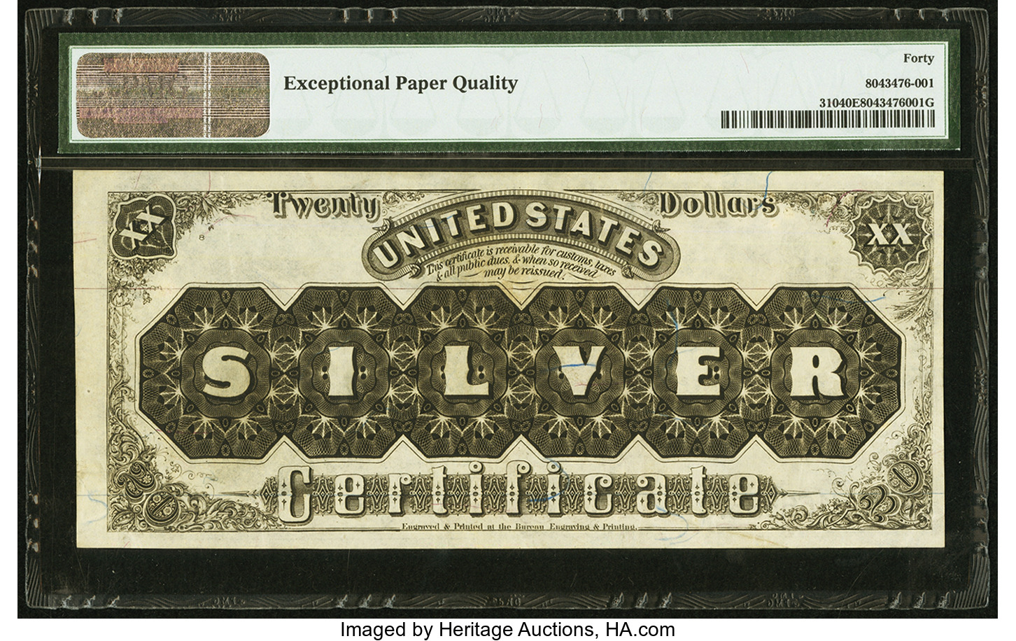 Qa why is there less color variation in us paper money coin 20 1880 silver certificate extremely fine 40 epq xflitez Images
