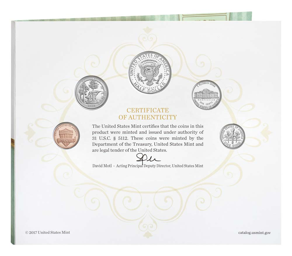 18RE 2018 S US Mint Happy Birthday Proof 5 Coin Set with Gift Card Folder