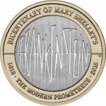 United Kingdom: Fantastic two-pound coin issued to mark the 200th anniversary of the publication of <em>Frankenstein</em>