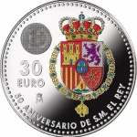 Spain: Colourful crest depicted on new silver coin issued in celebration of king's 50th birthday