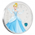 Niue: Disney princess silver coin series begins with Cinderella and features aqua-blue gemstone