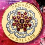 Canada: The splendour of rubies and diamonds set in a pure gold coin to create Tudor rose motif