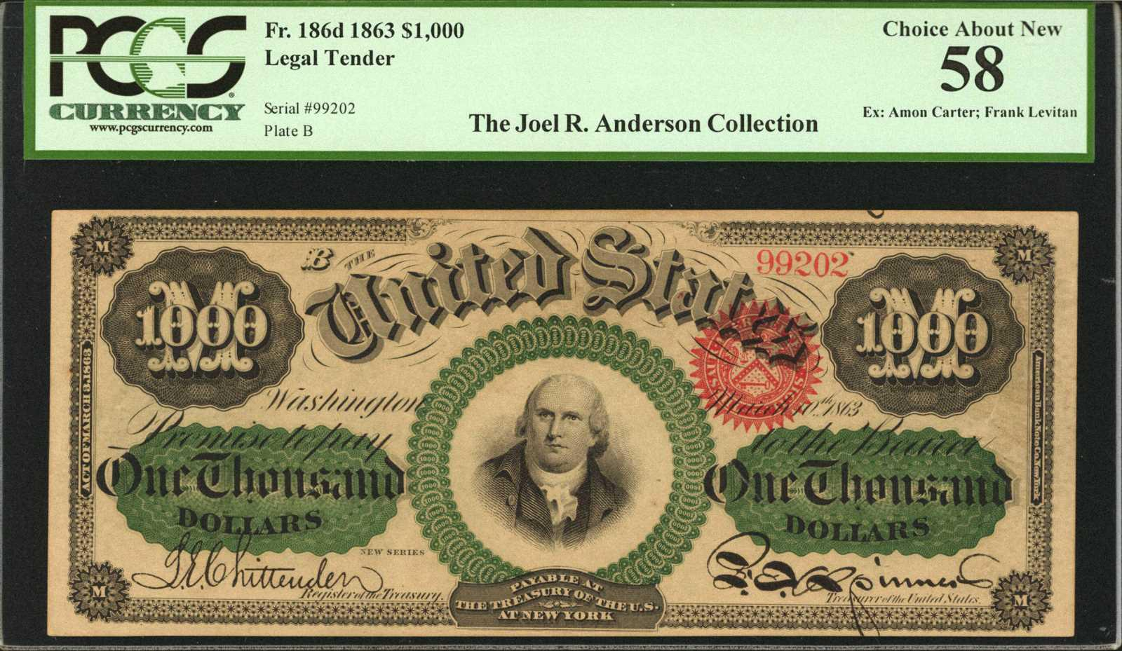 Rare 1863 1 000 Bill From The Joel R Anderson Collection S For 960 At Baltimore Expo