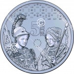 Five-euro commemorative coin issued to mark 10 year anniversary of Malta's adoption of the euro