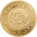 Commemorative coin and banknote of Mongolia in celebration of the Year of the Pig