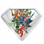 Canada: New shield-shape silver coin delights comic book fans with depiction of the Bronze Age of Comic Books and Justice League