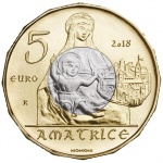 Italy: Art treasures of Amatrice highlighted on new €5 bi-metallic coin