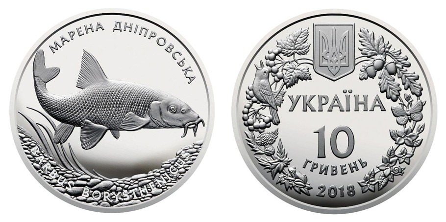 "2 HRYVEN 2018 /""BARBUS BORYSTHENICUS // DNIEPER BARBEL/"" fish New UKRAINE UNC"