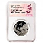 NGC and ASG grading Breast Cancer Awareness Coin and Stamp Set