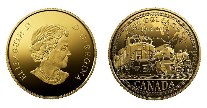 100-летие канадской национальной железнодорожной компании отмечено на новых золотых монетах