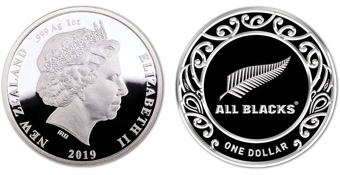 New Zealand All Blacks Rugby World Cup 2019-1 OZ  Silver  Proof Coin