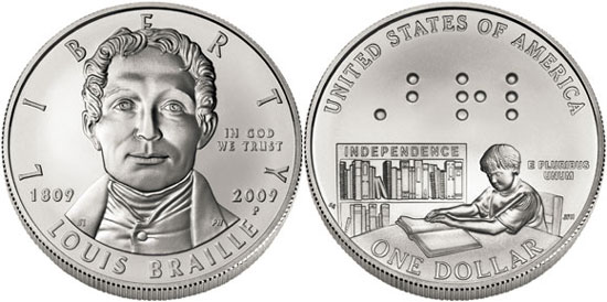 Louis Braille Silver Dollar